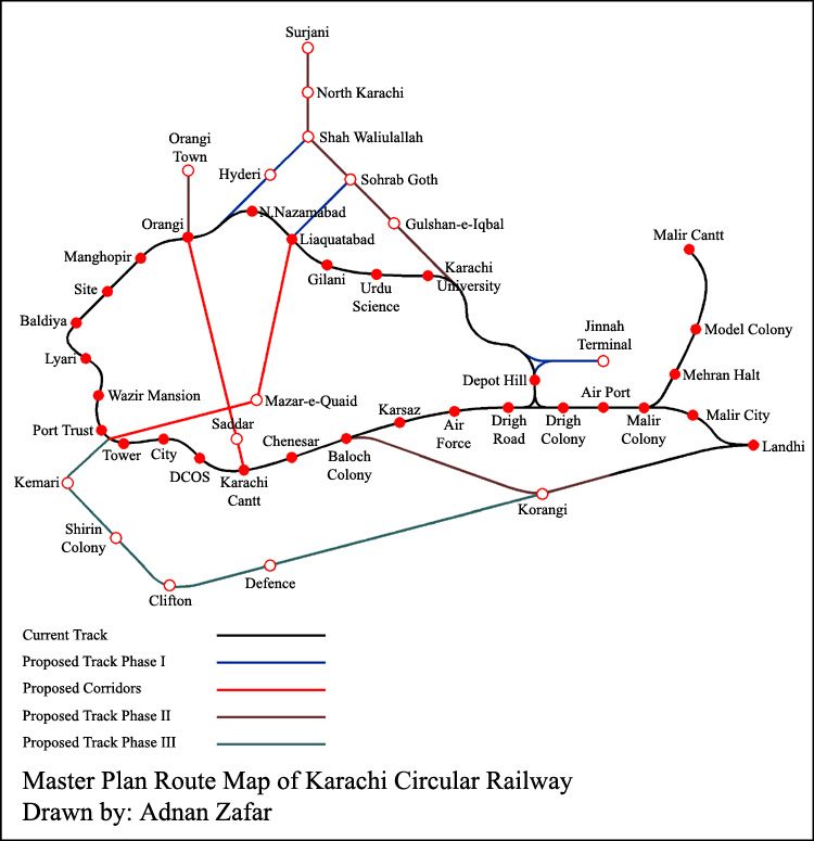 Route Map of Karachi Circular Railway